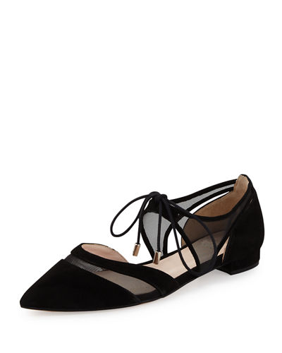 Maddie Pointed-Toe Lace-Up Ballerina Flat