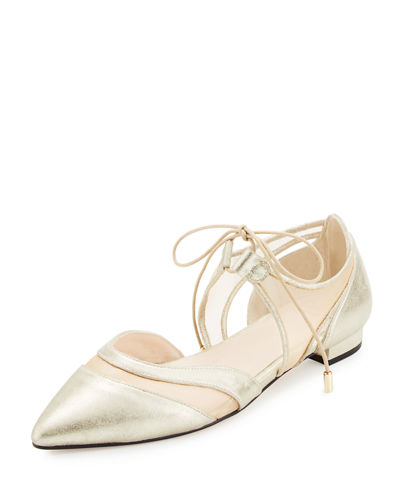 Andre Assous Maddie Pointed-Toe Lace-Up Ballerina Flat