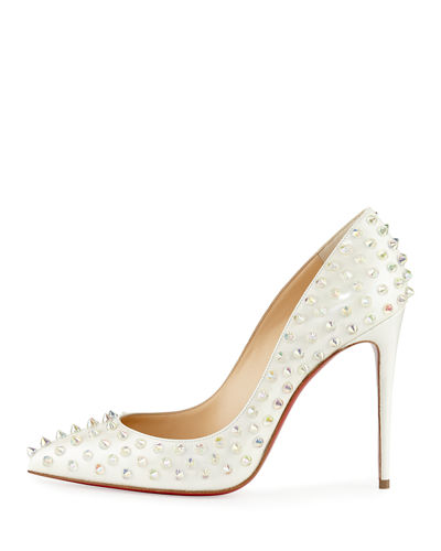 Christian Louboutin Follies Spike 100mm Red Sole Pump, White