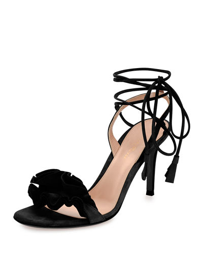 Gianvito Rossi Flora Ruffled Suede Lace-Up 85mm Sandal