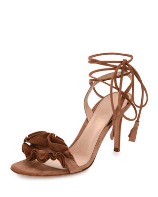 Ruffled Suede Lace-Up Sandal