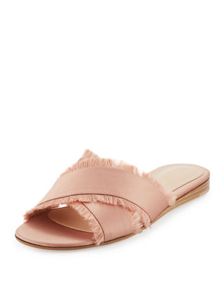 Gianvito Rossi Barth Satin Crisscross Slide Sandal