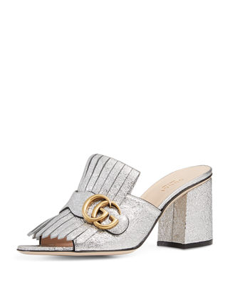 Marmont Fringed Metallic Cracked-Leather Mules, Silver Leather