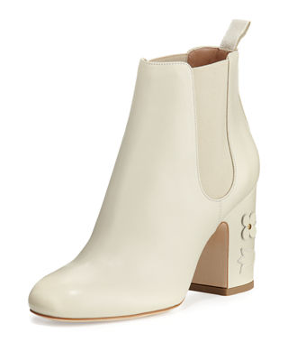Mia Floral-Appliqué Leather 85mm Chelsea Boot