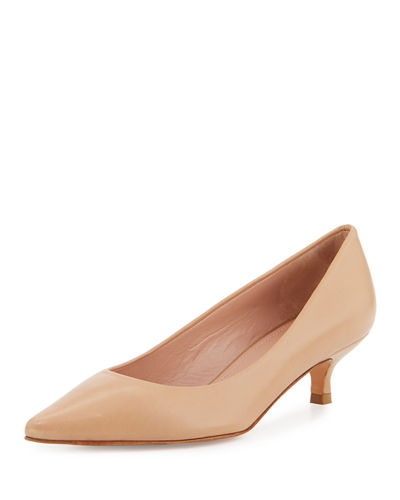 Stuart Weitzman Poco Leather Kitten-Heel Pump