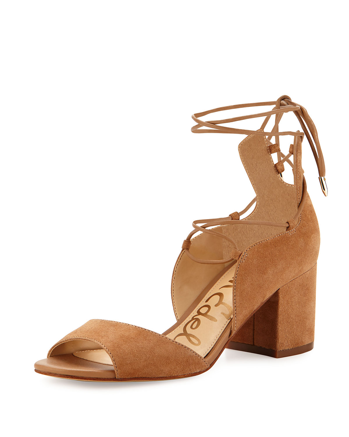 Serene Suede Lace-Up Sandal, Brown