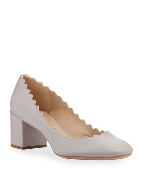 Chloe Scalloped Leather Pumps
