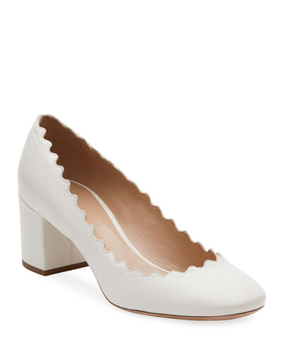 Scalloped Leather Pump