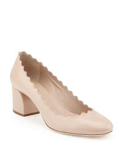 Scalloped Leather Pumps