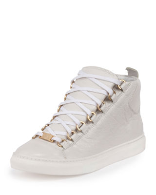 Arena Leather High-Top Sneaker, White