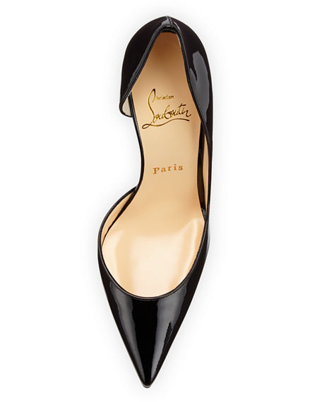 Image 3 of 3: Iriza Patent Open-Side Red Sole Pump