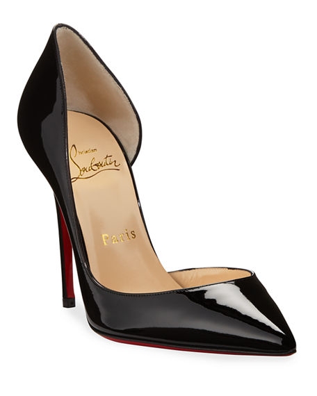 Image 1 of 3: Iriza Patent Open-Side Red Sole Pump