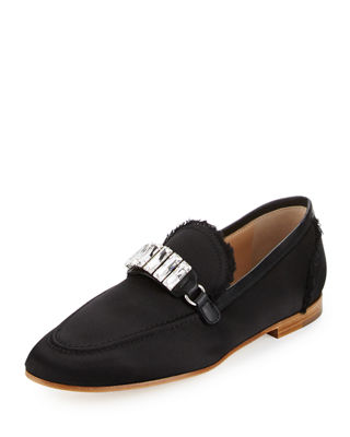 Image 1 of 4: Frayed Satin Loafer w/Jewel Strap