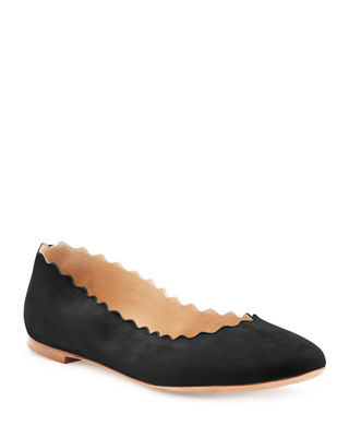 Lauren Scalloped Suede Ballerina Flat