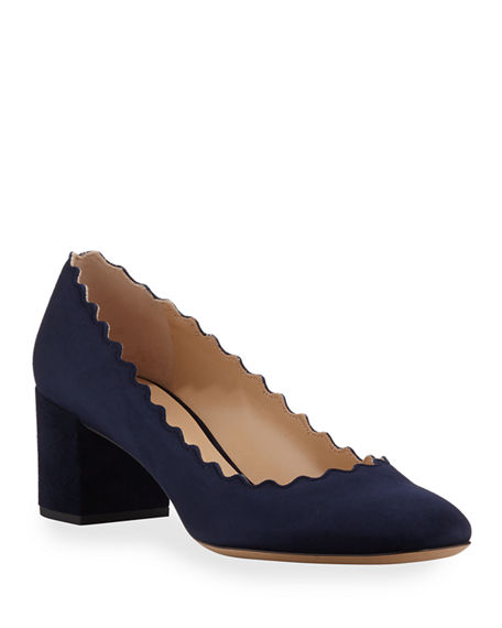 Chloe Lauren Scalloped Suede Block-Heel Pumps