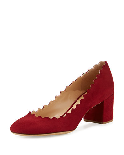 Chloe Lauren Scalloped Suede Block-Heel Pump