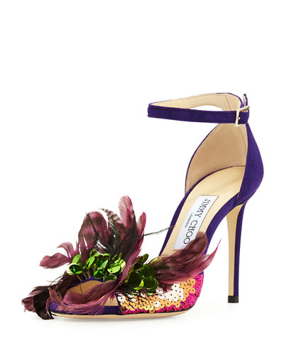 Jimmy Choo Annie Feather Suede 100mm Sandal