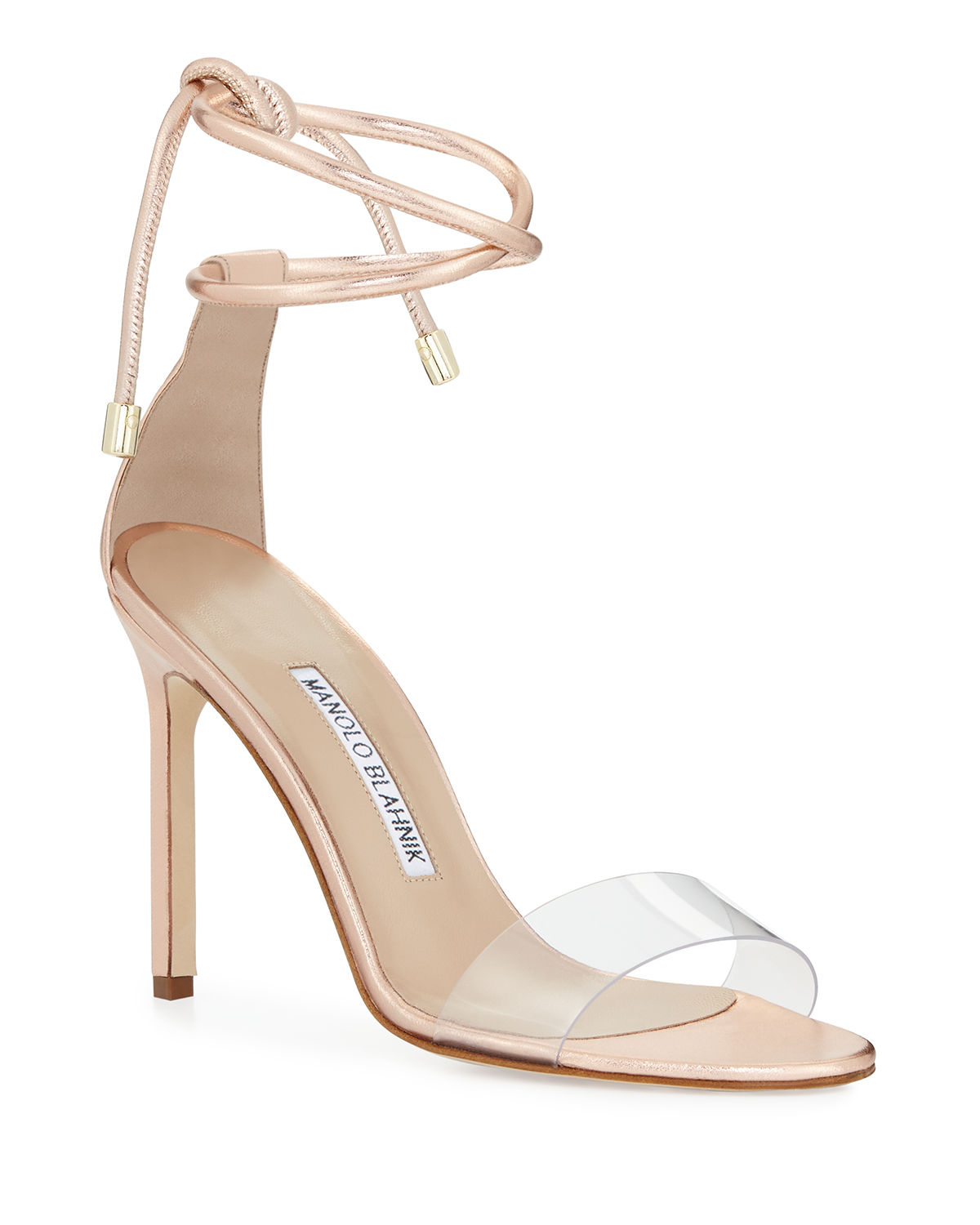 b606274fee7 Manolo Blahnik Estro Leather   PVC Ankle-Wrap Sandals