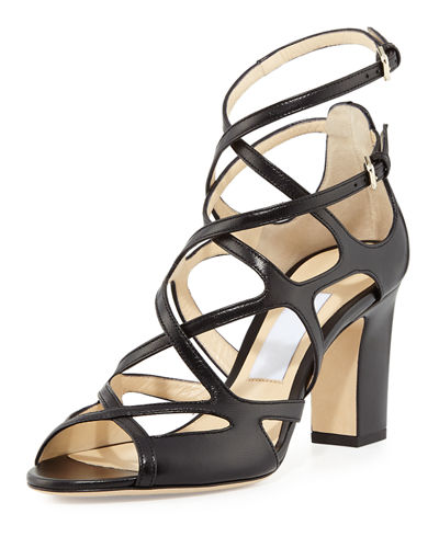 Jimmy Choo Dillan Leather Block-Heel Sandal