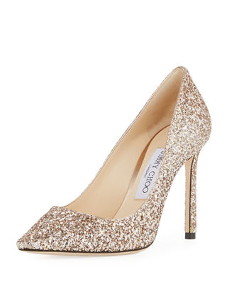 Romy 100mm Shadow Coarse Glitter Pointed-Toe Pump