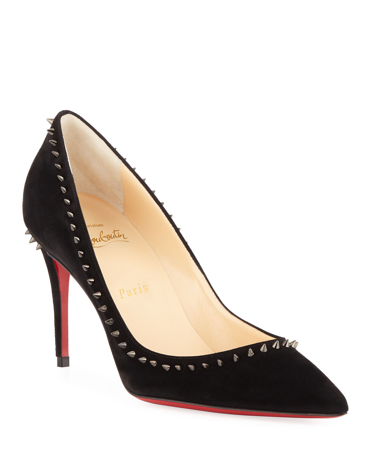 ce34001b4492 Christian Louboutin Anjalina Suede Spiked Red Sole Pump