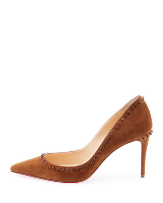 Image 2 of 3: Anjalina Suede Spiked Red Sole Pump