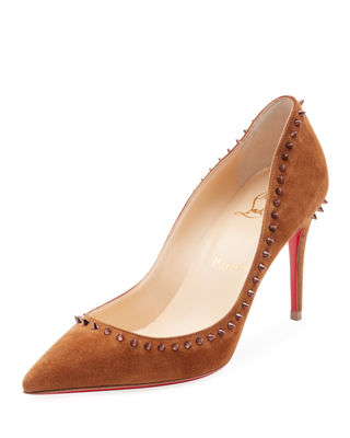 Image 1 of 3: Anjalina Suede Spiked Red Sole Pump