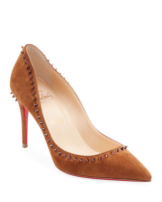 Anjalina Suede Spiked Red Sole Pump by Christian Louboutin