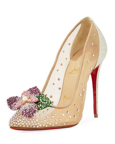 Christian Louboutin Feerica Crystal-Embellished Red Sole Pump,