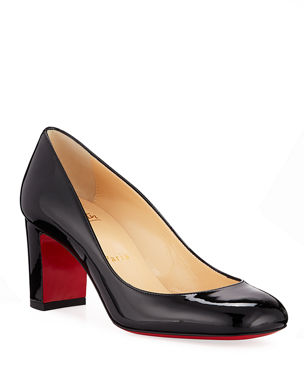59ad35fa87a1 Christian Louboutin Cadrilla Patent Block-Heel Red Sole Pump
