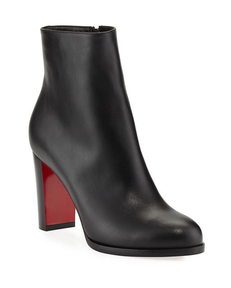 Image 1 of 4: Christian Louboutin Adox Leather Block-Heel Red Sole Boots