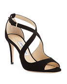 Jimmy Choo Emily Suede Crisscross 85mm Sandals