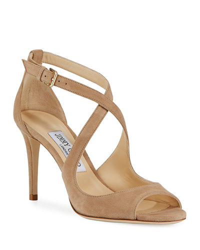 Emily Suede Crisscross 85mm Sandals