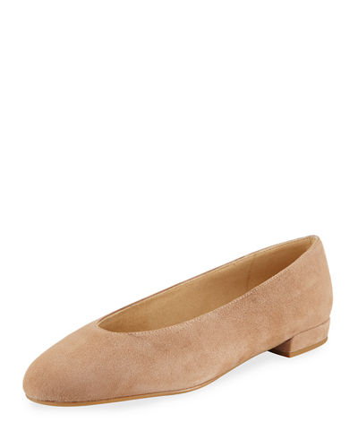 Chicflat Suede Almond-Toe Flat, Black