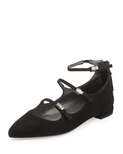 Flippy Three-Strap Mary Jane Flat
