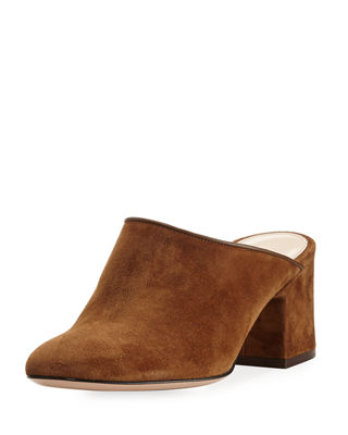 Image 1 of 3: Suede 60mm Block-Heel Mule