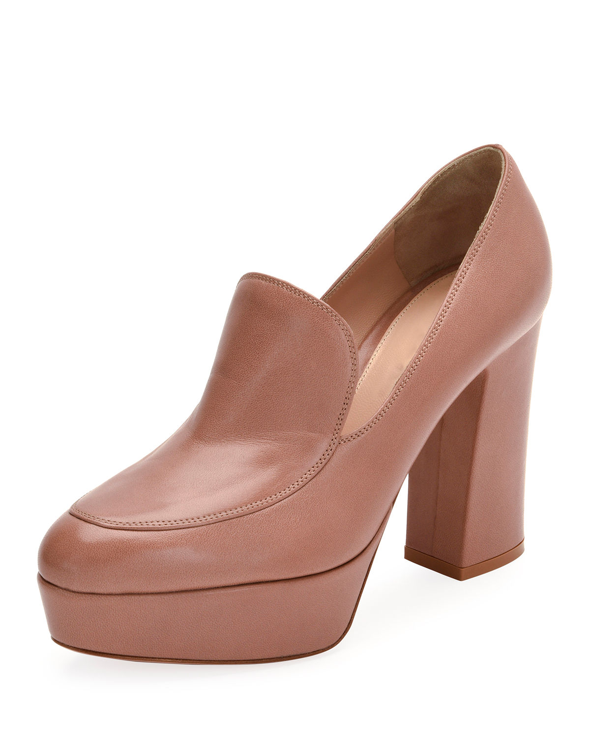 Platform Leather Loafer Pump