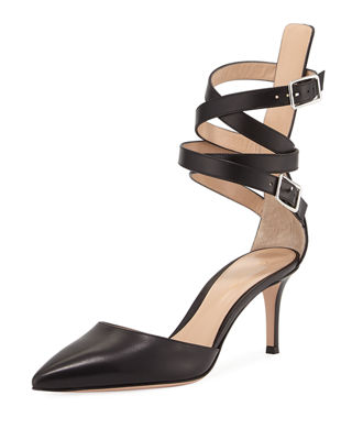 Gianvito Rossi Aleris d'Orsay 70 Leather Ankle-Wrap Pump