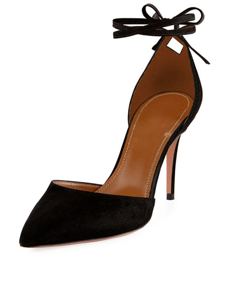 Image 1 of 4: Aquazzura Heart Breaker 85mm Ankle-Wrap Pump