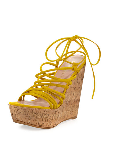 Stuart Weitzman Histrung Suede Lace-Up Wedge Sandal