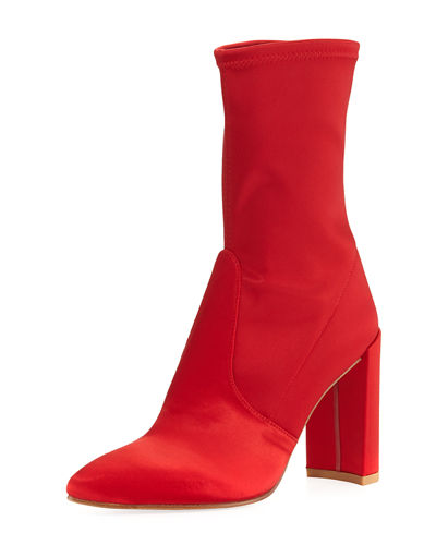 Stuart Weitzman Clinger Stretch-Satin Mid-Calf Boot and Matching