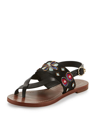 Tory Burch Embossed Embellished Sandals
