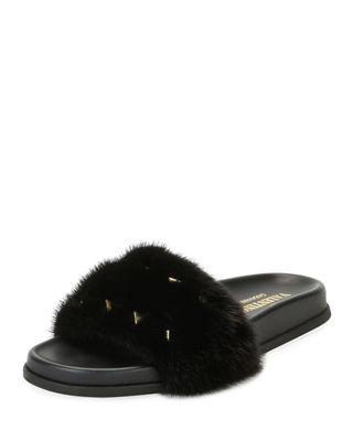 RED Valentino Leather slide sandals