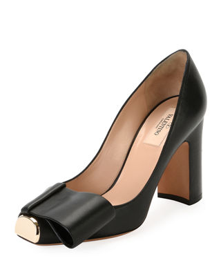 Valentino Garavani Chunky-Heel Metal-Toe Leather Pump