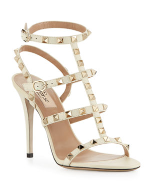 b7f80c7c0488 Valentino Garavani Rockstud 105mm Caged Leather Sandals