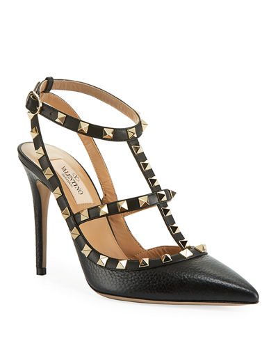 Rockstud Leather Caged Pump