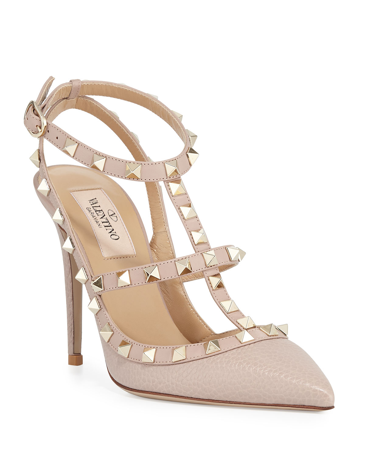 shop attractive designs incredible prices Rockstud Leather Caged Pump