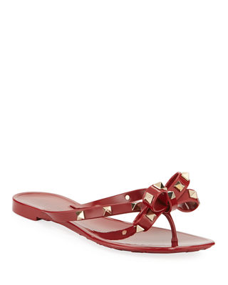 Jelly Rockstud Flat Thong Sandals in Dark Red