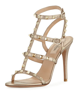 Rockstud Metallic Leather 105mm Sandal