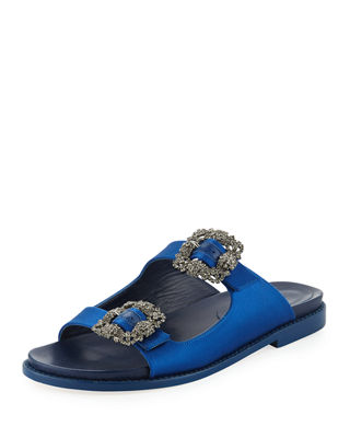 Manolo Blahnik Sturlushangi Satin Slide Sandals